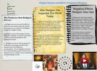 Glogster Purpose and Effects of Organized Religions