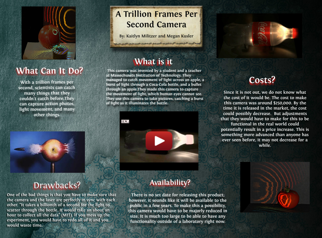 A trillion Frames Per Second Camera: bottle, camera, en, frames ...