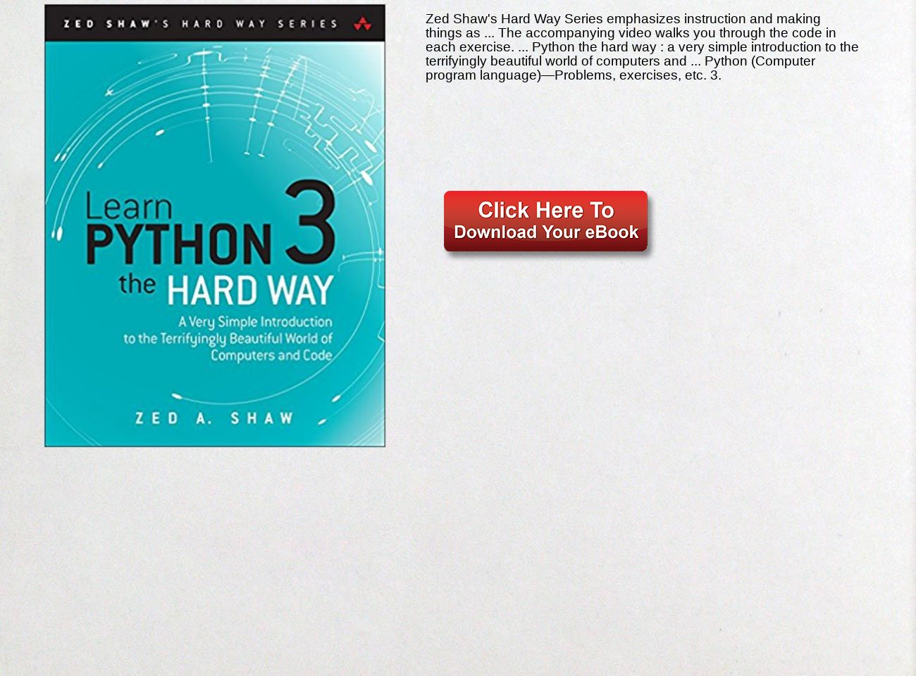 Download Ebook Learn Python 3 the Hard Way: A Very Simple