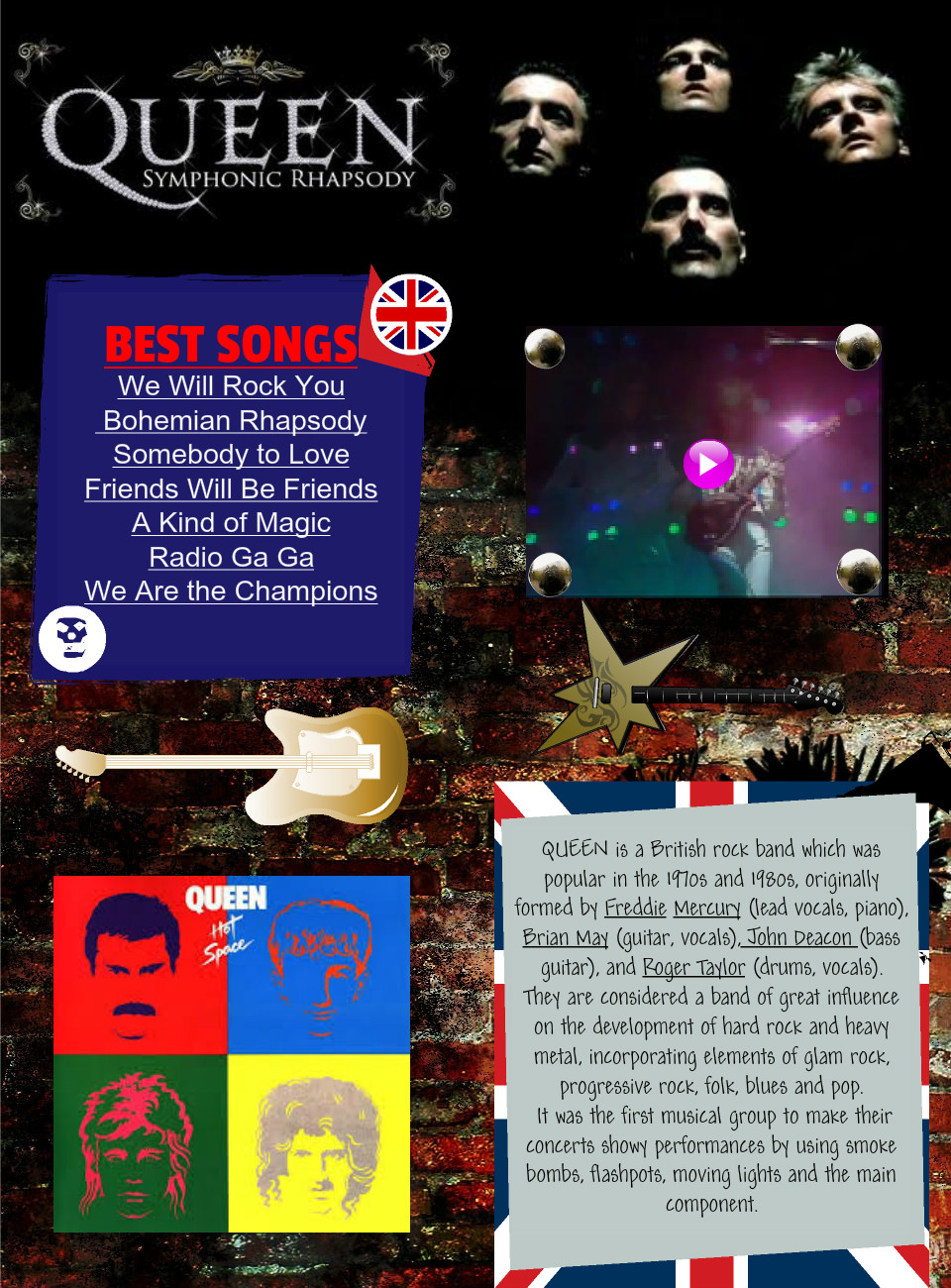 QUEEN: text, images, music, video | Glogster EDU - Interactive