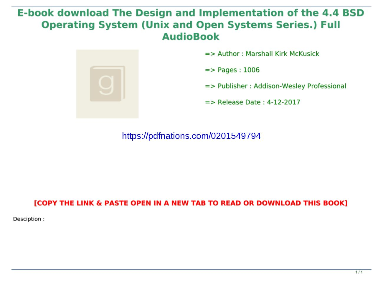 E Book Download The Design And Implementation Of The 4 4 Bsd Operating System Unix And Open Systems Text Images Music Video Glogster Edu Interactive Multimedia Posters