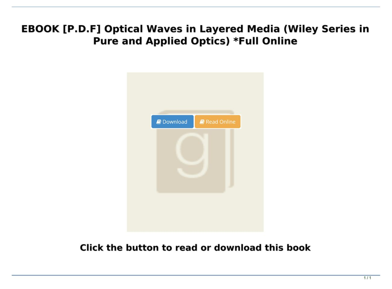 [P.D.F Download] Optical Waves in Layered Media (Wiley Series in Pure and Applied Optics) *Full Onli